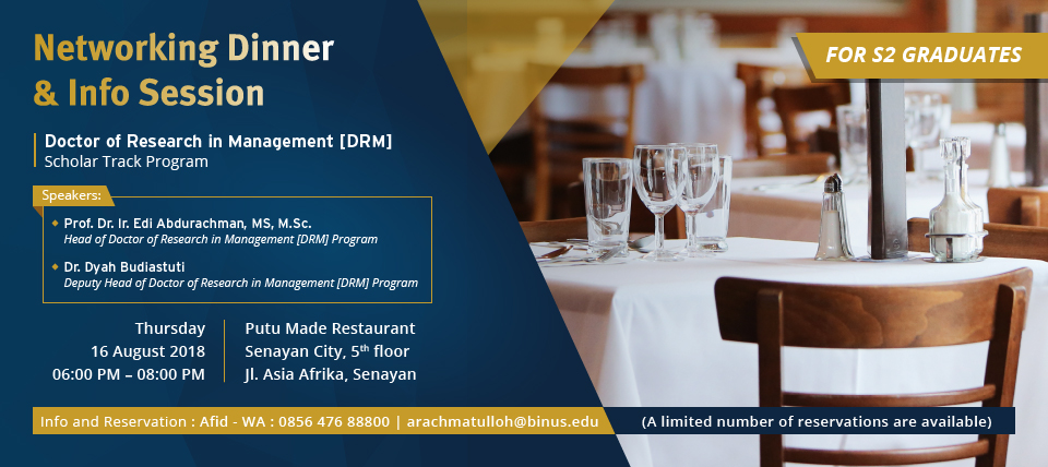 Networking Dinner & Info Session – Doctor of Research in Management (DRM)