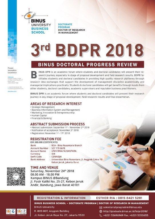 3rd BDPR 2018 BINUS Doctoral Review @Bandung, November 24th