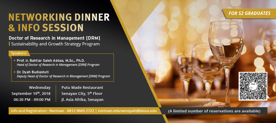 Networking Dinner & Info Session – Doctor of Research in Management (DRM) – 19 September 2018