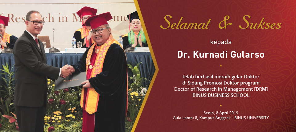 Selamat & Sukses kepada Dr. Kurnadi Gularso